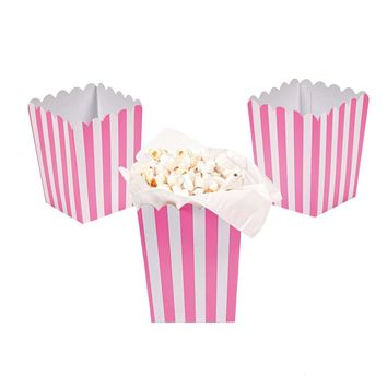 Pink striped popcorn boxes