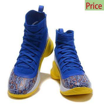2018 Newest Mens Under Armour Curry 4 Stephen Curry Mid Basketball Shoes Royal Blue Yellow White sneaker