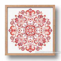 Mandala cross stitch pattern, Counted cross stitch pattern, Floral ornament,, Cross stitch chart, Mandala xstitch, Modern cross stitch