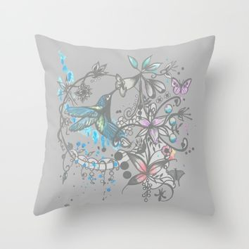 Hummingbird pen and ink drawing Throw Pillow by Saribelle Inspirational Art | Society6