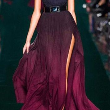 Open Back High Waist Ombre Maxi Dress
