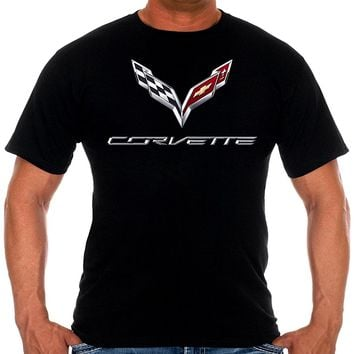Mens Chevy Corvette C7 Logo T-Shirts In 2 Different Styles with Exclusive American Flag Sticker