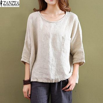 ZANZEA Retro Womens Crew Neck Cotton Linen Blouses 3/4 Sleeve Pockets Casual Loose Solid Tops Shirts Blusas Plus Size NEW
