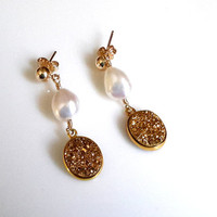 White Baroque Pearl and Gold Druzy Drop Earring on Gold Post