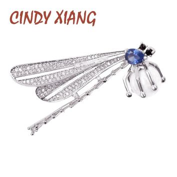CINDY XIANG New Design Full Zircon Dragonfly Brooches for Women Copper Material Wedding Brooch Pin Bijouterie Dress Accessories