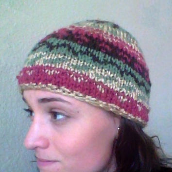 Pink and Green Fair Isle Knit Hat - Women, Teen - Fashion Accessory