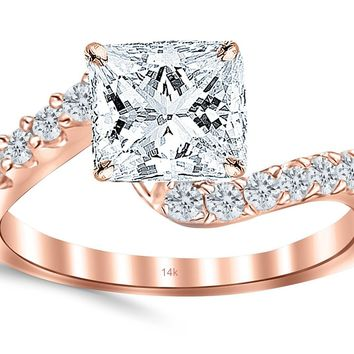 CERTIFIED | 14K White Gold Three Stone Vintage With Milgrain & Filigree Bridal Set with Wedding Band & Diamond Engagement Ring with a 0.6 Carat Princess Cut H-I Color SI1-SI2 Clarity Center Stone (Yellow, White, Rose)