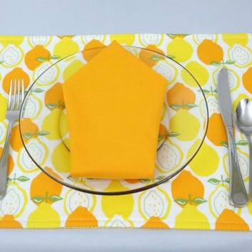 Pair of Placemats, Lemons and Oranges Print , Rectangle, Striped Back, 100% Cotton, Set of 2