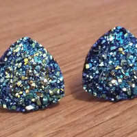 Druzy earrings-  Triangle metallic blue druzy earrings