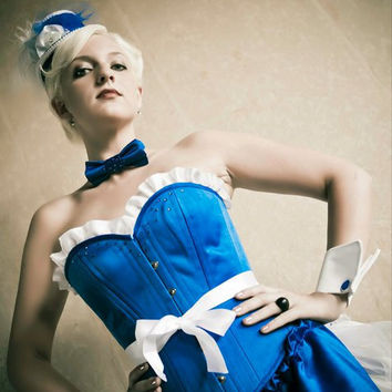 Cigarette Girl Inspired Royal Blue Pinup by sugarkittycorsets
