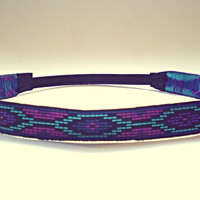 Purple blue and Pink Tribal Headband Hippie Headband Indie Bohemian Womens Hair accessories