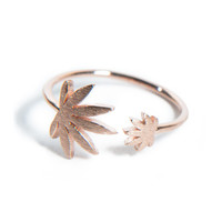 Cannabis Couture Pot Leaf Wrap Around Ring- Rose Gold!