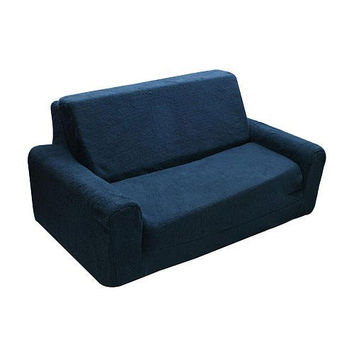 Komfy Kings, Inc 33007 Navy Sherpa 20-Inch Tween Flip Sofa