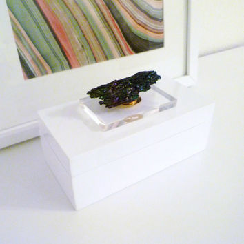 white glossy lacquer box for coffee table decor or jewelry box with lucite acrylic base and rainbow coloured carborundum crystal