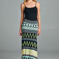 Neon Green Aztec Maxi Skirt