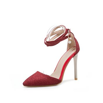 Pointed Toe Ankle Strap Glitter High Heel Stiletto Sandals Wedding Shoes 1086