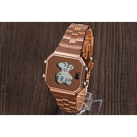 TOUS new electronic watch square luminous cute fashion bear watch F-OF-SJK Rose gold