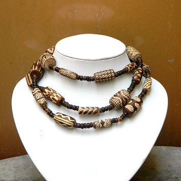 African Spirit ooak wooden pyrography necklace or bulky wrap bracelet tribal exotic handmade jewelry