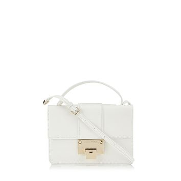 Jimmy Choo White Grainy Calf Leather Cross Body Handbag with Silver Hardware OGRC|028