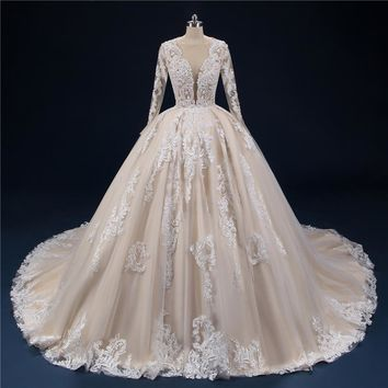 Lace Wedding Dresses Long Sleeves Ball Gowns Wedding Dress Long Train