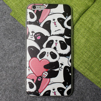 Cute Panda Case Ultrathin Cover for iPhone 5 6 6s Plus