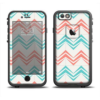 The Vintage Coral & Teal Abstract Chevron Pattern Apple iPhone 6 LifeProof Fre Case Skin Set