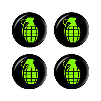 Hand Grenade Green on Black - Set of 3D Stickers