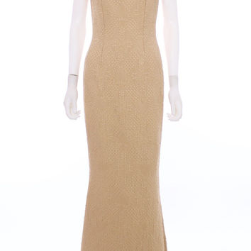 Peggy Jennings Gold Quilted Brocade Low Back Fishtail Train Gown Size 8