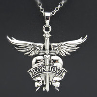 Bon Jovi Shout to the heart slippery when wet it's my life tour necklace logo plated chain rock roll msc 80's