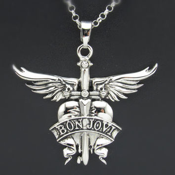 Premium classic band logo rock band Jovi Bon Necklace FREE SHIPPING
