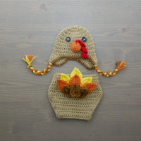 Crochet Turkey Costume, Crochet Turkey Set, Diaper Cover Set, Crochet Baby Hat, Newborn Photography Prop, Photo Prop, Thanksgiving Prop