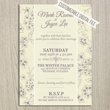 Classic Dark Lavender Orchid Wedding Invitation - Classy Old Fashion Flower Print Elegant Mystical Professional Pretty - DIY Printable (007)