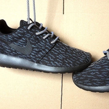 Nike Roshe Womens Black with Custom Yeezy 350 Boost Black Pirate Inspired Design