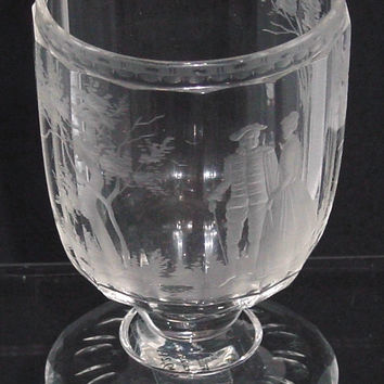 999244 Crystal Glass With Stem With 14 Cut Flat Sides & Engraved Man & Woman & Trees, Etc. Cutting On Base & Around Rim