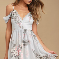 Verona Light Blue Floral Print Off-the-Shoulder Lace Dress