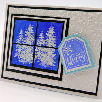 Christmas Holiday Stationery, Handmade Greeting Card Set, Snow Covered Pine Trees, Embossed