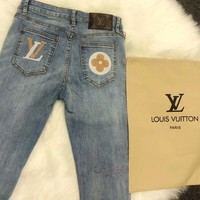 """LOUIS VUITTON""Fashion Casual Skinny Jeans Denim Shorts Pants Rompers Trousers Jeans"