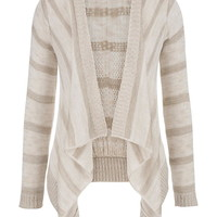 Crop Back Striped Blanket Cardigan - Beige