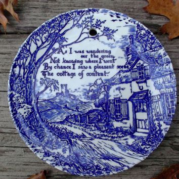 Royal Crownford Ironstone Blue White Transfer Plate Cottage Scene Poem