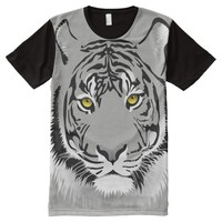 Tiger Head and Eyes Picture Print Design All-Over-Print Shirt