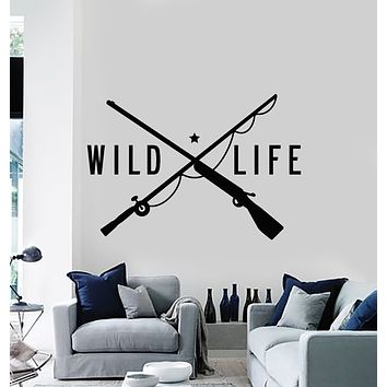 Vinyl Wall Decal Wild Life Gun Fishing Rod Hunting Store Decor Stickers Mural (g961)