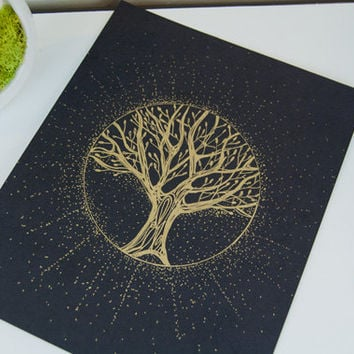 Healing Tree of life whimsical art GOLD ORIGINAL ILLUSTRATION Art with Gold Frame Wall art Unique gift Yoga Decor gold art Boho Bohemian Art