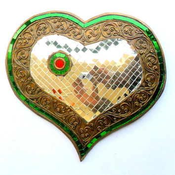 "Mosaic Heart Shape Glass Art Multicolor Handmade Mirror Mosaics Art Home Decor Handcrafted Hand Wood Carved Wood Gift 10"" x 9.5"""