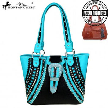 Montana West Turquoise Floral Buckle Tote MW446G-8317 Blk/TQ
