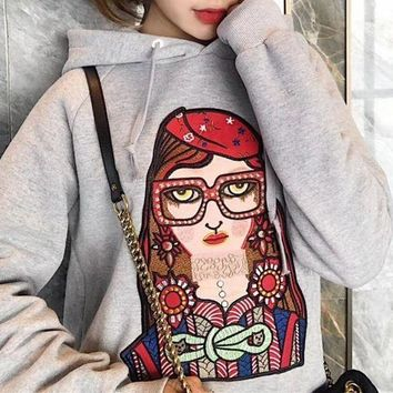DCCKB62 Gucci' Casual Fashion Cartoon Glasses Girl Pattern Embroidery Hooded Long Sleeve Sweater Tops Women Hoodie