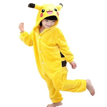 Children Pokemon Pikachu Flannel Animal Pajamas Onesuit Kids Girls Boys unicorn Cosplay One Piece Sleepwear Halloween Costumes