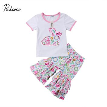 2018 Newborn Toddler Baby Girls Cartoon Outfit Bbaies Easter T-shirt  Tops+Flare Pants Leggings Clothes Set
