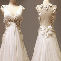 A-line V-neck Neckline Court Train Wedding Dress