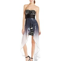 Speechless Juniors' Strapless Sequin Ombre-Chiffon Tube Dress with High/Low Hem
