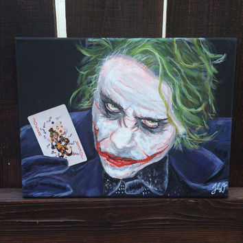 Joker DC Villain 9x12 Acrylic Painting Heath Ledger DC Comics Wall Room Decor Wall Art The Dark Knight Batman's Villain